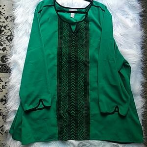CATHERINES Tops - CATHERINES green and black top