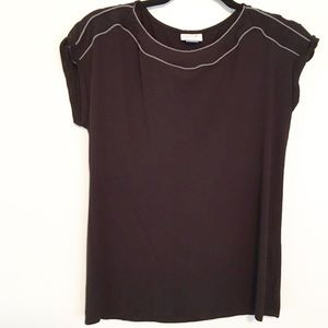 Jaclyn Smith Tops - Black Grey Contrast Piping Casual Career Tee