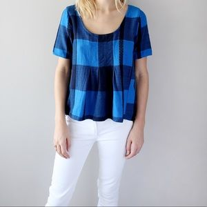 Ace & Jig Tops - Ace & Jig Indigo Check Shop Tee