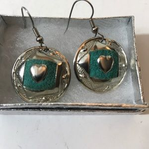 Round silver tone green leather heart earrings