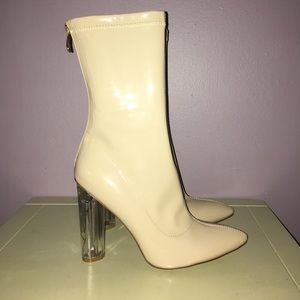 Shoes - Nude patent style clear heel boots size 7