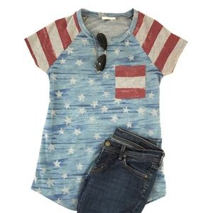12 Pm By Mon Ami Tops - Patriotic Stars & Stripes Tee