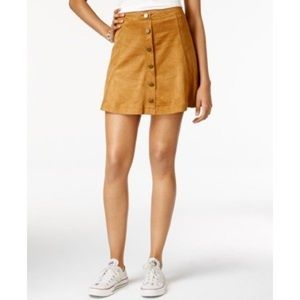 NWT Stretch Faux Suede Button Up Skirt
