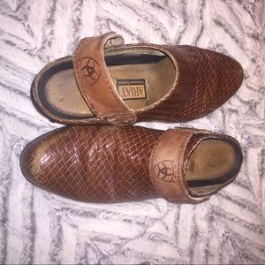 Ariat Shoes - ARIAT Brown Woven Leather Slingback Mules W9