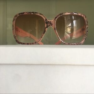 Accessories - Wide black pink silver floral lace sunglasses