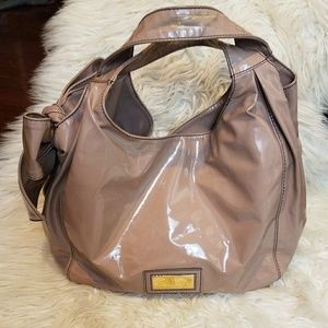 VALENTINO Nuage Bow Patent Leather Hobo Nude