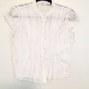Dress Barn Tops - Pleated White High Neck Button Down Victorian