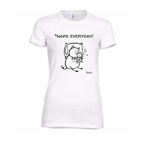 "PonCat Tops - HP ""Naps Everyday!"" Women's slim fit cat t-shirt"