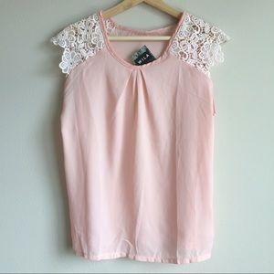 WILA Tops - Crochet Shoulder Detailed Pink Blouse
