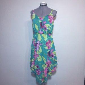 As U Wish Dresses & Skirts - As U Wish Green Floral Sundress With High Low Hem