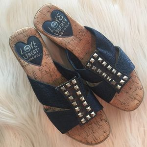 Love and Liberty Shoes - 🆕 Love & Liberty Denim Studded Cork Wedge Sandals