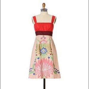 Anthro Floreat painted silk dress