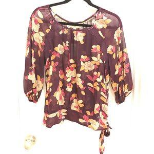 Anthro Moulinette Soeurs sheer floral blouse