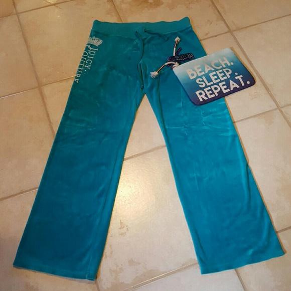 bcffaf9a420d Juicy Couture Pants - Juicy Couture Turquoise Aqua Sweat Pants Logo M