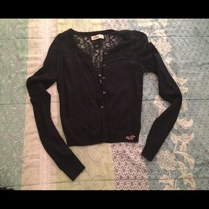 hollister lace button down sweater