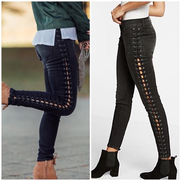 86027e834c7 Express Jeans | Black Wash Laceup Side Skinny Jeggings | Poshmark
