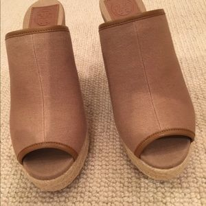 Tory Burch Shoes - Khaki canvas and leather mule wedge