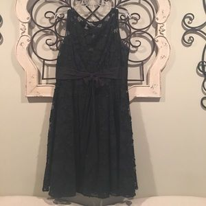 Adrianna Papell Black Floral Overlay Dress