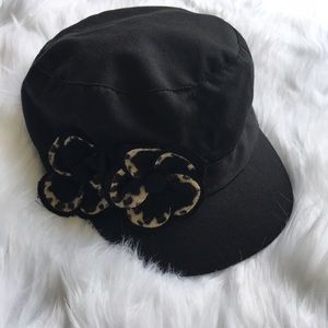 Accessories - Black Hat with Leopard Print Flower