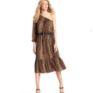 Michael Kors One-Shoulder Belted Leopard Dress