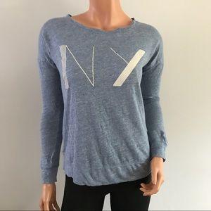 Madewell Linen Long Sleeve NY T-shirt Blue XS