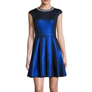 NEW TED BAKER Ayma Blue Metallic Dress Sz 10