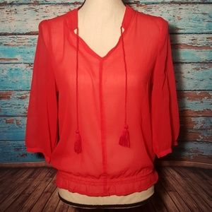 Old Navy Tops - Old Navy - Sheer 3/4 Length Blouse