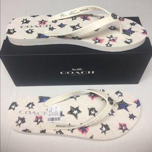 1a4aa8c00651 Coach Shoes - Coach- Abbigail Star Rubber Denim Flip Flop Size 9