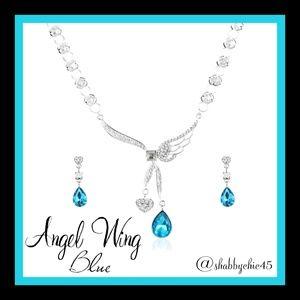 Boutique Jewelry - Angel Wing Heart Necklace/Earrings Set in Blue
