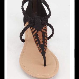 Sandal Black Brown Whip Stitch Boho Tribal Ethnic