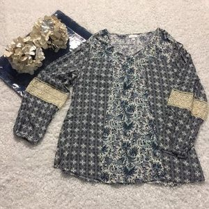 Avenue Tops - AVENUE Rayon Blouse Crochet Sleeves Long BOHO