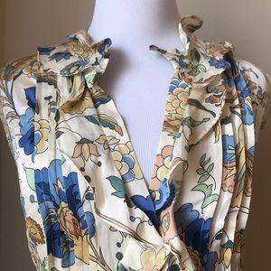 Talbots Tops - Beautiful TALBOTS Floral Ruffle Top. Silk & Cotton