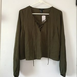 Cropped lace up top olive green NWT