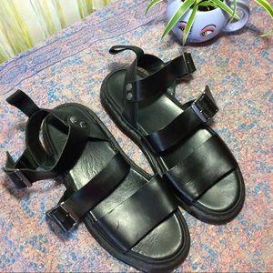 Dr. Martens Shoes - Dr. Martens Black Leather Buckle Gryphon Sandals