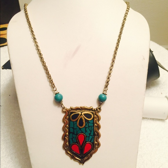 Turquoise N Coral Color Brass Pendent