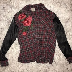 LF Tops - Plaid embroidered flannel