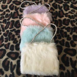 Other - Fancy Fuzzy Purse girls  Pink, purple, blue, white