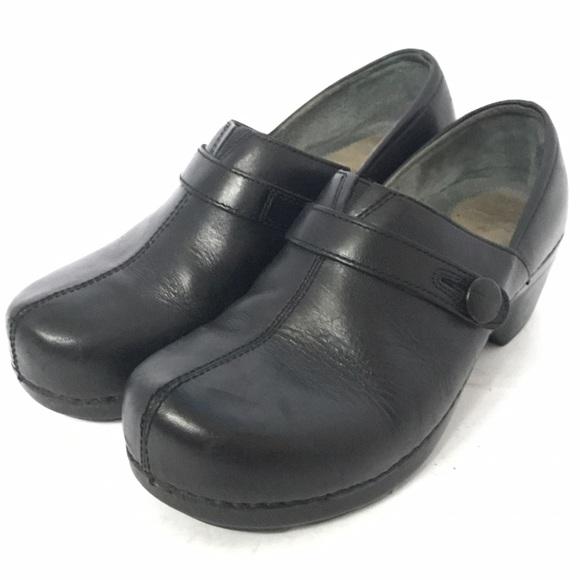 Dansko Black Elastic Strap Shoes