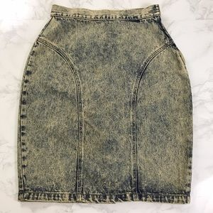 Vintage High Waist Acid Wash Pin Up Denim Skirt