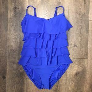 Aqua Green Other - Women's Tiered One-Piece Ruffle Swimwear