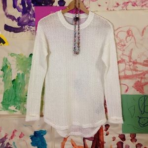 UO sparkle & fade white cream open weave sweater