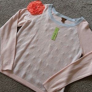 Copper Key Sweaters - NWT COPPER KEY PALE PINK GRAY LIGHTWEIGHT SWEATER