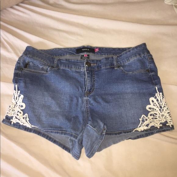 torrid crochet trim denim shorts