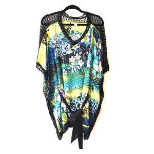 Cache Dresses & Skirts - NWOT CACHÈ 100% SILK FLORAL PRINT LACED DRESS
