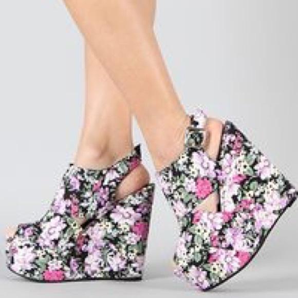 pink duchess pink duchess floral covered platforms peep