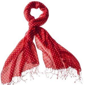 Merona Red & White Polka Dot Scarf