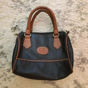 Black & brown leather mini satchel purse