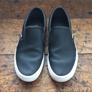 Vans Shoes - Black perforated leather slip on Vans