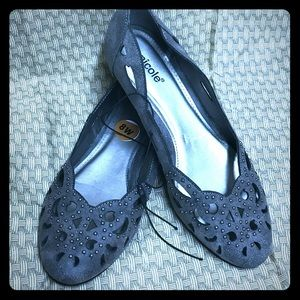 NWT Nicole flats.  8 wide.  Grey with studs