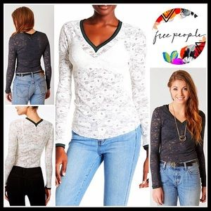 FREE PEOPLE Crochet Lace Long Sleeve Cami Top
